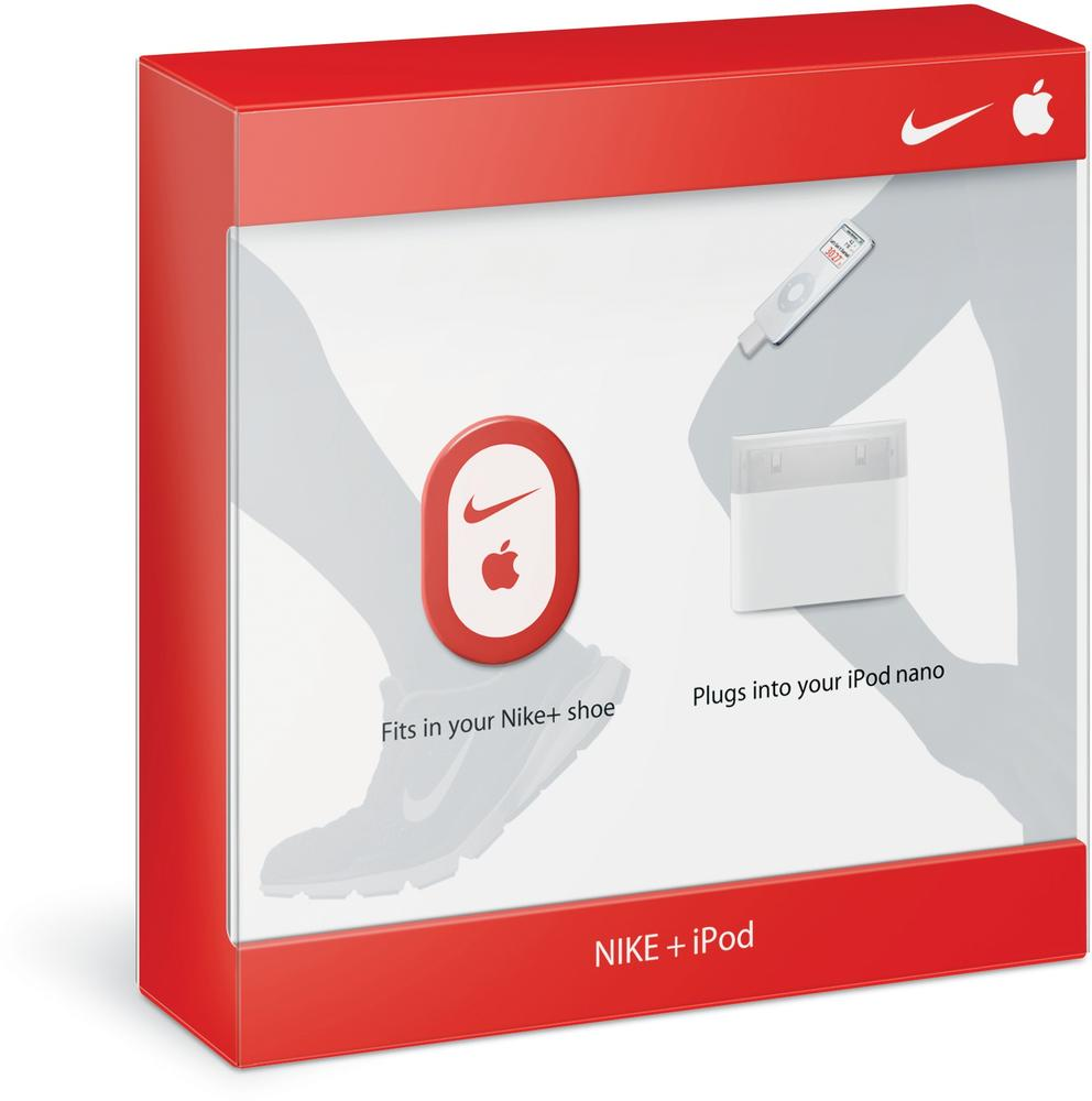 The Nike+iPod Sports Kit consists of an accelerometer that is attached to or embedded in a shoe, which communicates to an iPod Nano. Users can track in real time their calories burned, distance, or time while running. Courtesy Apple.