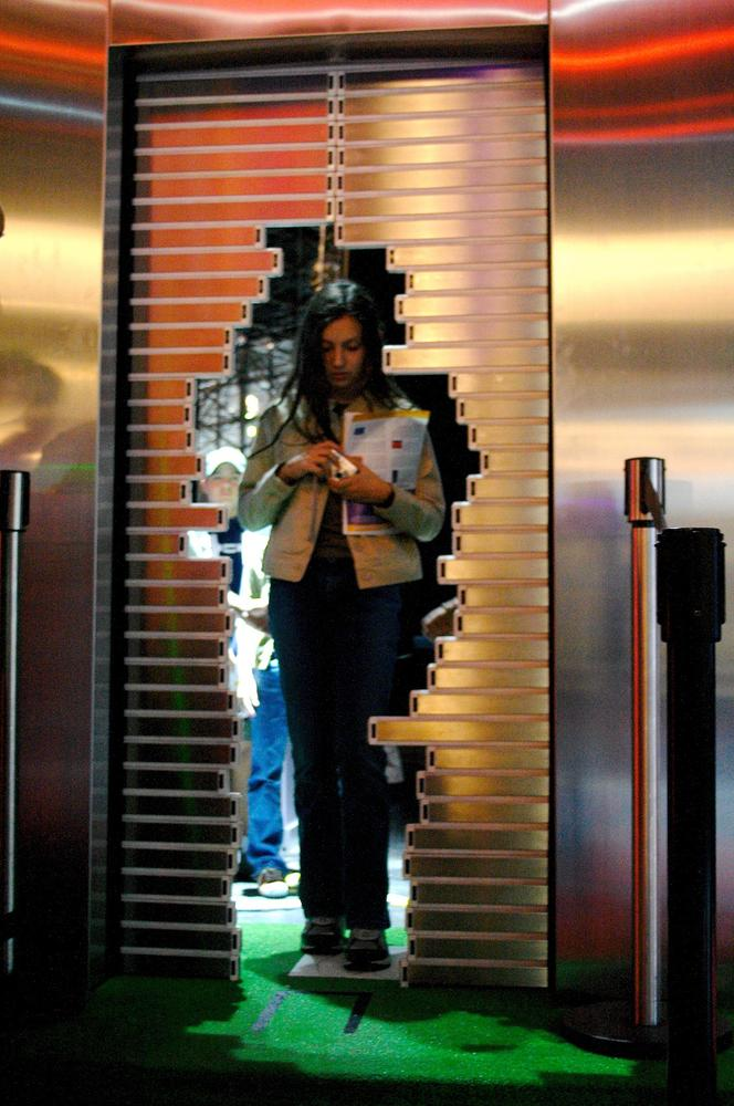 Fukuda's Automatic Door adjusts to the shape of the user as she approaches the door. Courtesy Olga Itenberg.