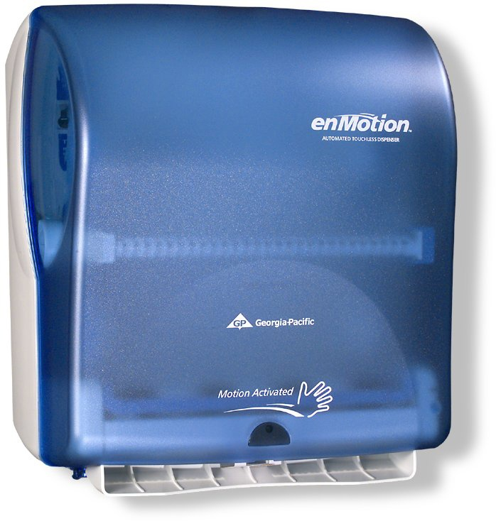 To use enMotion's Paper Towel Dispenser, you wave your hand in front of the sensor, and a sheet of paper towel comes out of the dispenser. Courtesy Georgia-Pacific.