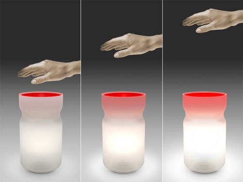 You can turn on an Airswitch light by merely waving your hand slowly over the light. Users can make the light dim or brighten by moving their hand upward or downward. Courtesy Mathmos.