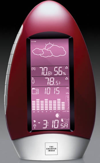 "Users have only to wave their hand near the Waterdrop Weather Station Clock for it to ""snooze"" the alarm. Courtesy The Sharper Image."