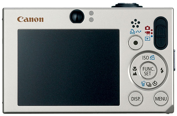 Canon's PowerShot SD1000 changes its display (to portrait or landscape) based on how the user is holding it. Courtesy Canon.