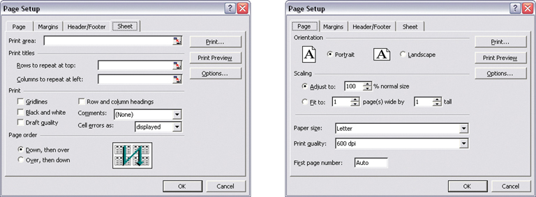 "The Windows and Mac OS look-and-feels help to implement a visual framework, since colors, fonts, and controls are fairly standard. But you need to add the higher-level structure, like the layout grid and language. These Excel screenshots both come from the same dialog box—Page Setup—and they illustrate the concept well. All these characteristics are consistent from page to page: location of action buttons in the upper and lower right; margin size, indenting, and vertical distance between text fields; extension of text fields to the right edge; the use of labeled separators (such as ""Print titles"" and ""Orientation"") to delimit Titled Sections; and capitalization and grammar."