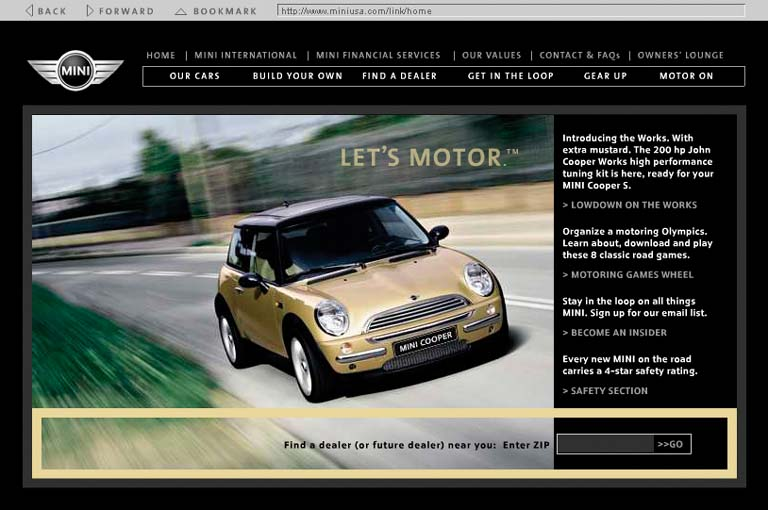 "Likewise with heavily graphic UIs. The focal points in the site shown here are the logo, the moving car, the ""Let's Motor"" tag line, and the dealer-locator text field at bottom right—all in a diagonal line (approximately). The motion of the photograph pushes the eye down and right even more forcefully than the other examples. Undoubtedly, the designers of the site wanted to encourage people to use the text field. If it were at the bottom left instead, the page would lose much of its punch, and the text field might get lost in the page. See ."