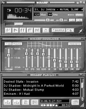 The Winamp interface is similar to standard CD player interfaces.