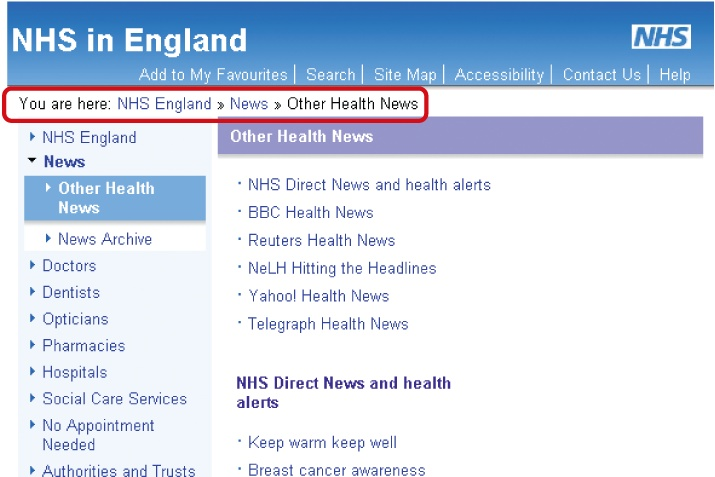 "Location breadcrumb trail on the NHS web site beginning with ""You are here"""