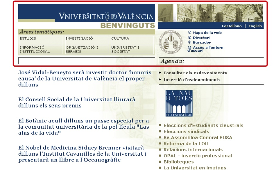 The global navigation area on the University of Valencia home page