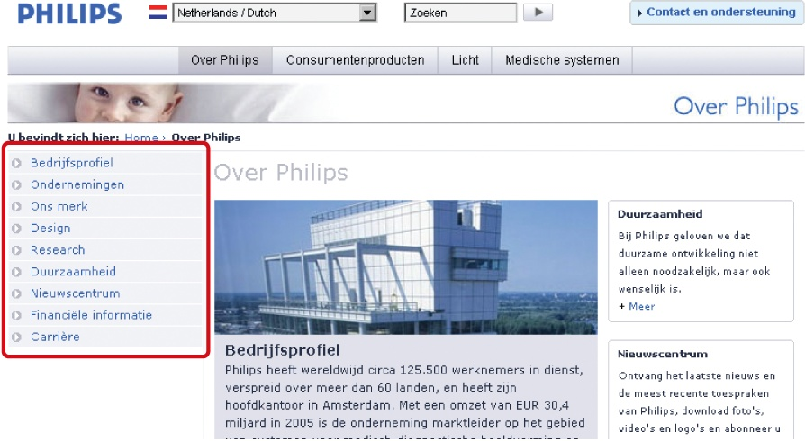 An embedded vertical local navigation on Philips.nl