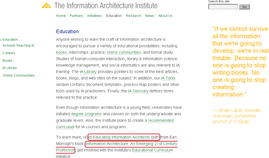 Embedded contextual navigation on the IA Institute web site