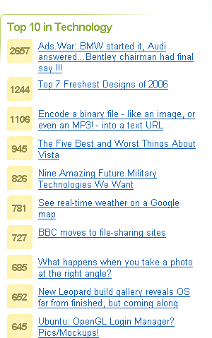 Top ten stories in the Technology category on Digg.com