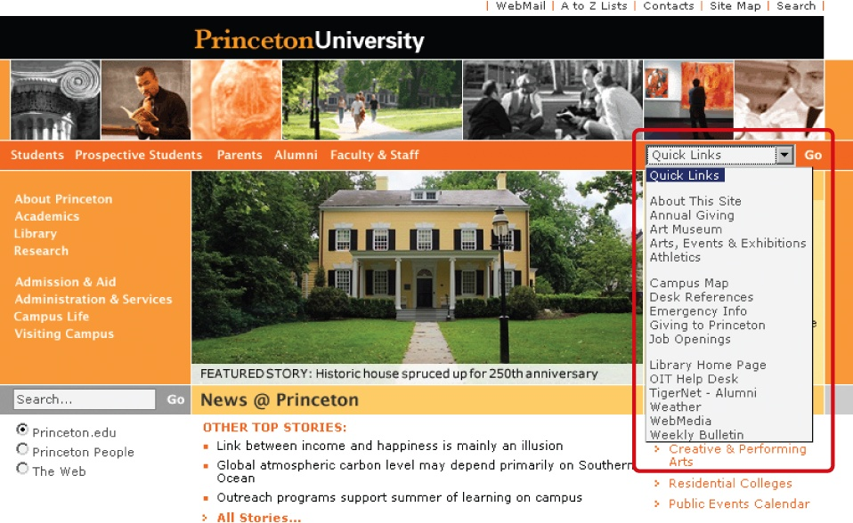 Quick links in a drop-down menu on the Princeton University home page