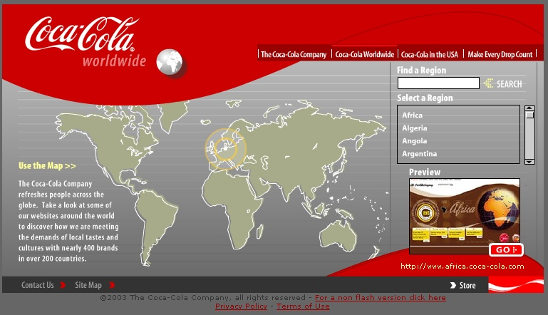 A country selector on the Coca-Cola web site