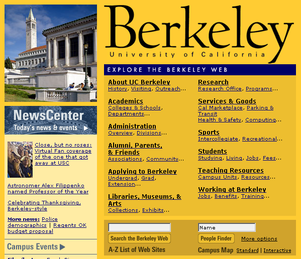 Navigation on the home page for the University of California, Berkeley