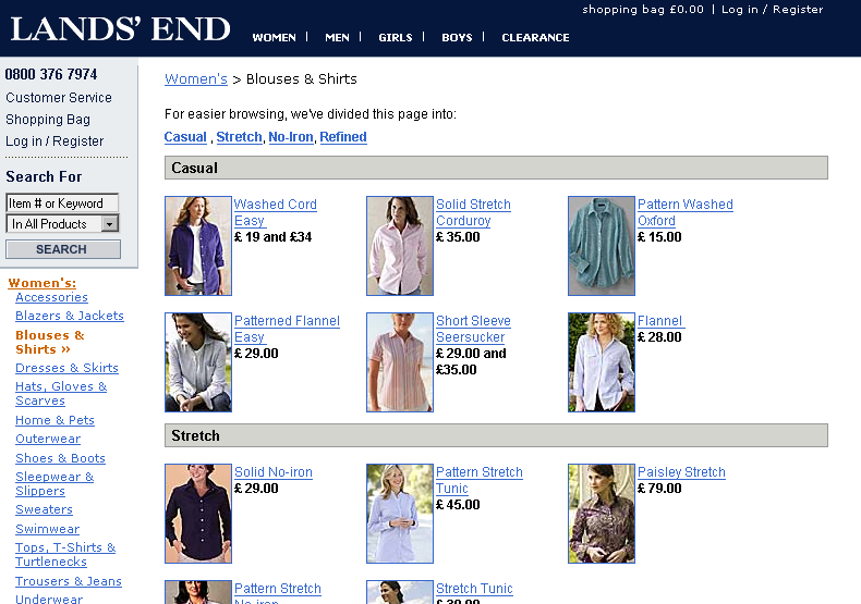 A gallery of women's blouses and shirts on Landsend.co.uk