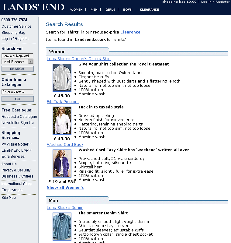 Search results for shirts on Landsend.co.uk