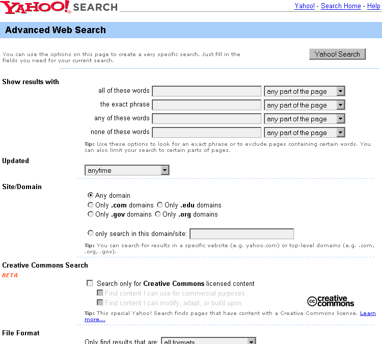 The top portion of the advanced search form for Yahoo.com