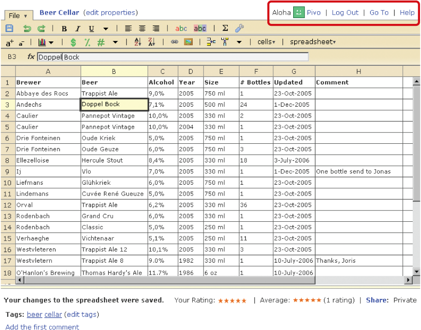 An example of an online spreadsheet application with NumSum