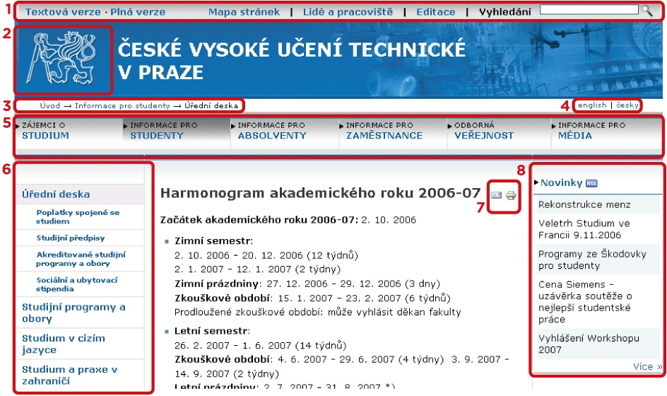 A page from the web site for the Czech Technical University