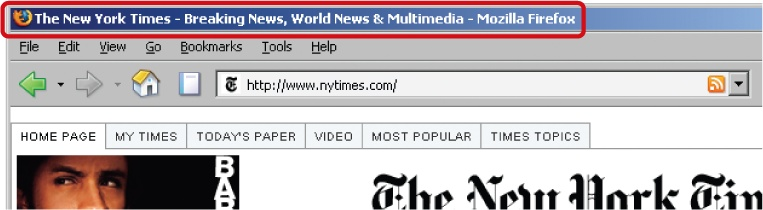 Browser title of The New York Times