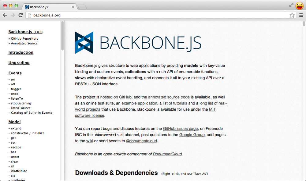 The Backbone.js home page