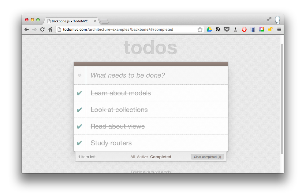 A filtered list of completed todo items