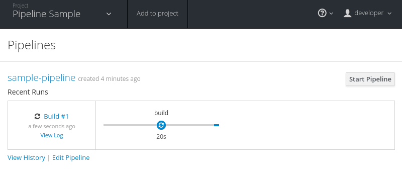 Start the application pipeline build