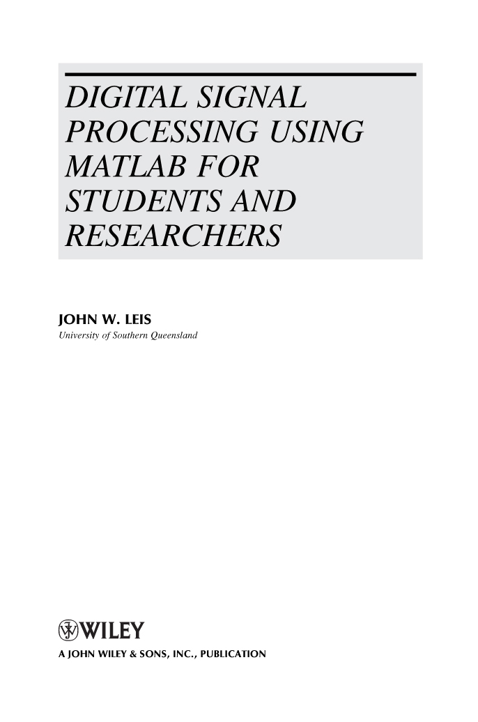 Title page - Digital Signal Processing Using MATLAB for