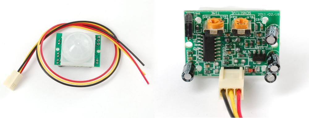A typical PIR sensor, front (left) and rear (right) with connector and potentiometers to adjust the sample rate and sensitivity of the sensor