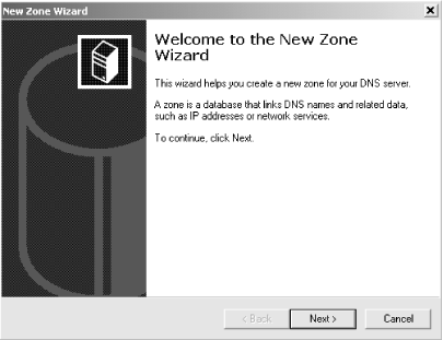 New Zone Wizard, first window