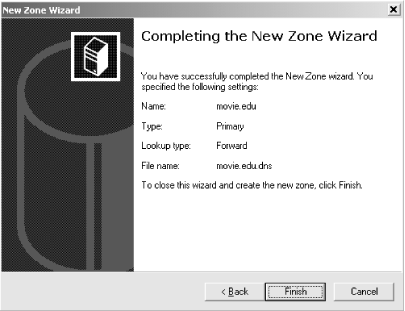 New Zone Wizard confirmation window