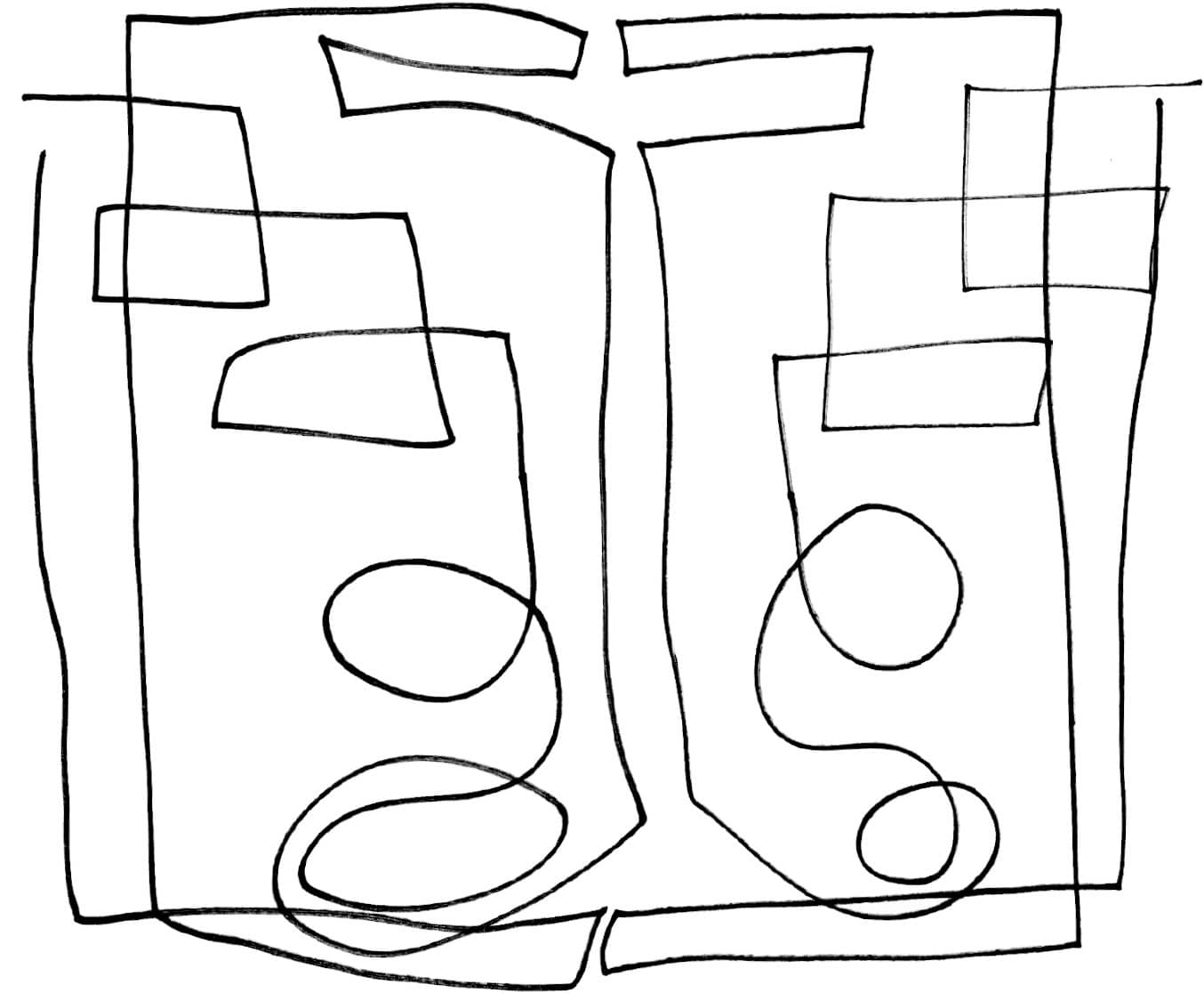 Exercise 3 two handed reflection drawing drawing in black