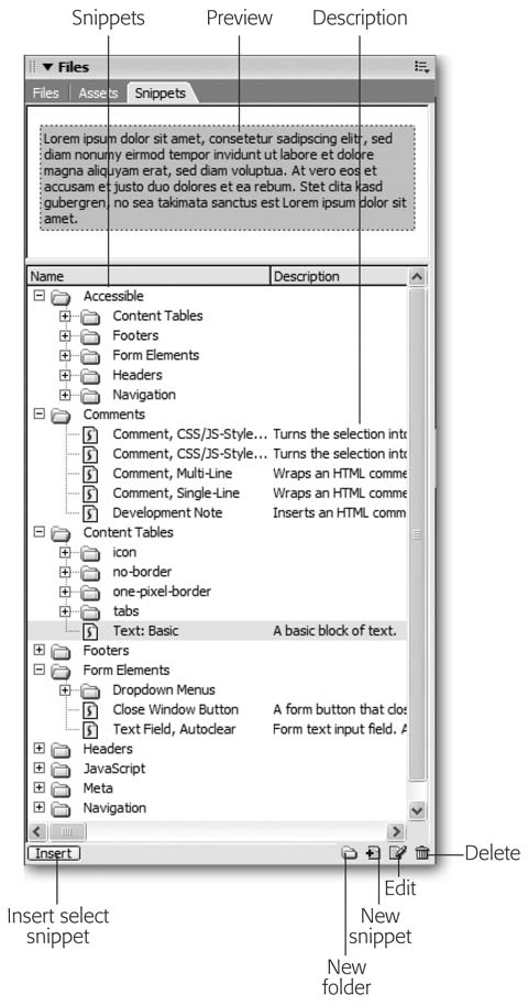 The Snippets tab on the Files panel contains reusable chunks of code—snippets—which you can organize into folders. After selecting a snippet from the list, a preview appears in the Preview pane. In this example, you can see a preview of the snippet: a simple table with a colored background and dummy text. Snippets can have either a graphic preview (as in this example), called design preview, or a code preview, which is the raw code. Code previews are useful for snippets that aren't visible in Design view, such as JavaScript code. (When you create your own snippets, you specify the preview type.)