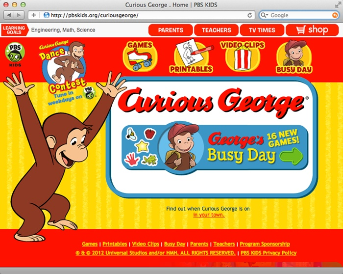 Some websites rely almost exclusively on graphics for both looks and function. The home page of the Curious George website (), for instance, uses graphics not just for pictures of the main character, but for the page's background and navigation buttons, too.