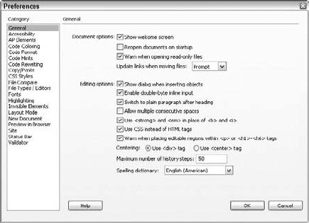 Dreamweaver's General Preferences enable you to change your program's appearance and certain overall operations.