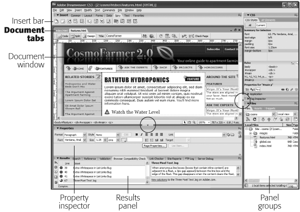 You can switch between open documents by clicking each file's tab immediately above the Document toolbar. Here, clicking the features.html tab brings that page to the front. (This nifty feature works only if the document window is maximized.) You can also hide the panels in one fell swoop (either the stack of panels on the right edge of the window or the panels at the bottom left) by clicking either of the Hide Panels buttons (circled). To show the panels, click the button again.