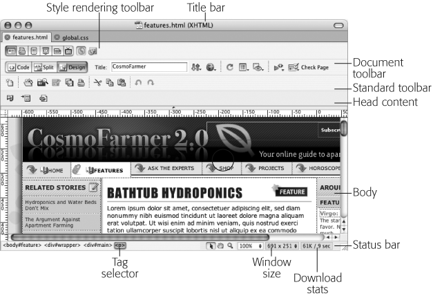 A document window like this represents each Web page; here's where you add text, graphics, and other objects as you build a page. You can also title the page, preview it in a Web browser, and take other useful actions using the Document toolbar.