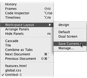 The Mac version of Dreamweaver (shown here) has a default and dual-screen layout. Dual screen layout, which is also available on Windows, puts all the panels onto a second monitor while leaving the first monitor for just Web page documents, the Insert bar, and the Property inspector.