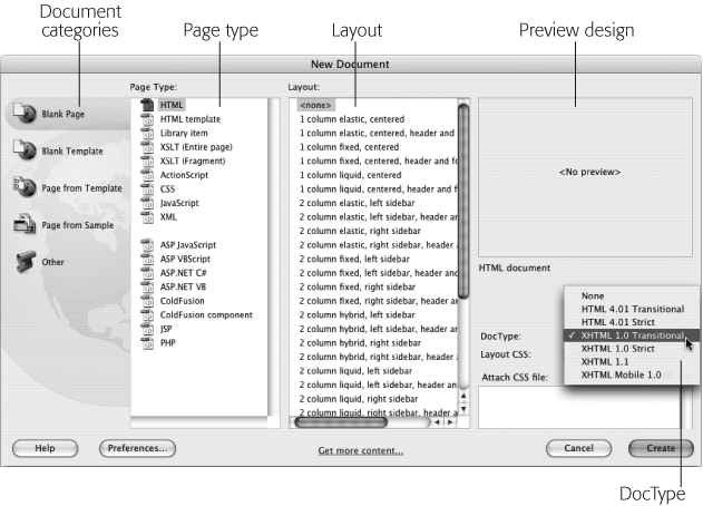 The New Document window lets you create nearly every Web document type under the sun. Dreamweaver CS3 also includes many prepackaged designs including lots of advanced page layouts using the latest Web design techniques. If you select one of those designs in the design list, you'll see a preview of the layout in the upper-right corner of the window.