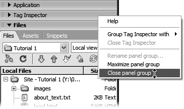 Right-clicking (Control-clicking on a Mac) to the right of the name of a panel group opens a pop-up menu that lets you close or even rename the panel group.