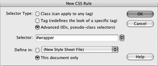 Creating a new CSS style takes several steps, all beginning with the New CSS Rule window. covers all the settings for this window in detail.