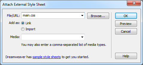 Adding styles from an external style sheet is as simple as browsing for the file, and then clicking OK. Choosing a media type is optional.