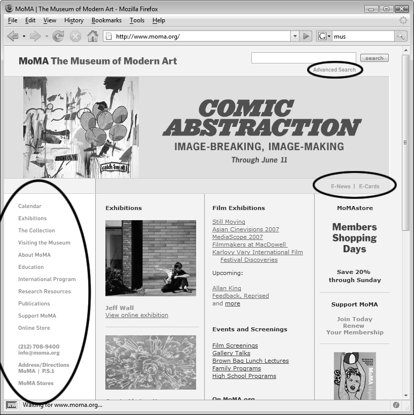 Library items are great for small chunks of HTML that you use frequently on a site. Here, on an old version of The Museum of Modern Art's home page, many of the navigation options on the page (circled) are Library items. If the Museum needed to add or remove a navigation link, they could update the Library item to change every page on the site in one simple step. In fact, since a Library item is a chunk of HTML, the left-hand navigation bar could be replaced with a Flash movie, plain-text links (instead of graphics), or any other valid HTML code.