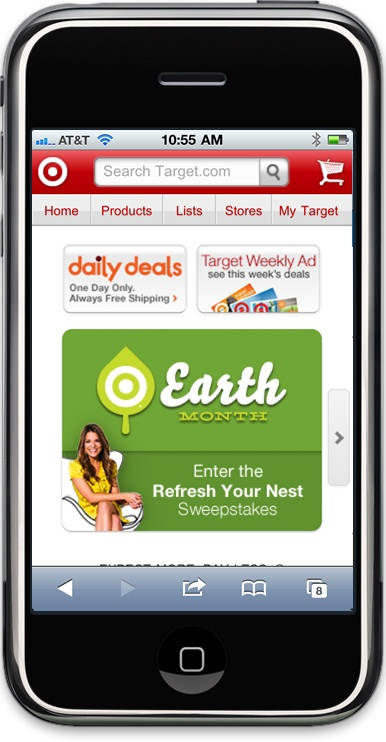 Many large companies, like Amazon.com and Target.com (pictured), create mobile versions of their sites, optimized for display on small handheld devices like the iPhone.