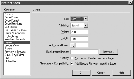 The Layer Preferences dialog box