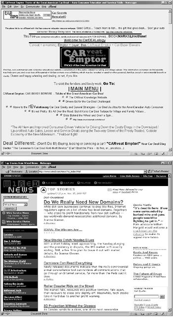 "Both of these pages use different fonts, colors, and sizes to display text, but the one at bottom uses a consistent arrangement of styles to organize the text and guide the reader through the page. Notice how the headline ""Do We Really Need New Domains?"" with its larger type size draws your eye to it immediately. Below that, the supplementary articles and their summaries are easy to identify and read. In the page at top, by contrast, the largest type element, ""Main Menu,"" sits in the middle of a scattered, randomly formatted sea of text."