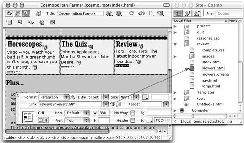 "In this figure, the text ""more —>"" is selected in the document window to the left. To link to another page, drag from the Point-to-File icon in the Property inspector to a Web page in the Site window shown at right. In this example, Dreamweaver creates a link to the Web page called mowers.html. Another method would be to press Shift and drag from the text ""more —>"" to the page mowers.html in the Site window."