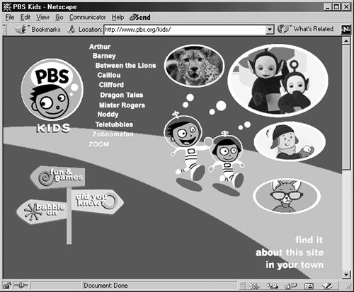 Some Web sites rely almost exclusively on graphics for both looks and function. The home page for the PBS Kids Web site, for instance, uses graphics not just for pictures of their shows' characters, but also for the page's background and navigation buttons.