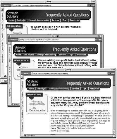 These three Web pages are part of a section of a Web site dedicated to answering frequently asked questions. The pages each provide the answer to a different question, but are otherwise identical, sharing the same banner, navigation buttons, sidebar, and footer. This is a common scenario for most Web sites that include news stories, employee profiles, product pages, or press releases. In fact, it's so common that Dreamweaver has a special feature—Templates—to help you build such pages.