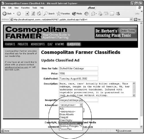 Dynamic form fields come in handy with update forms. Form fields are already filled out with database information that's ready to be edited. The menus can also be dynamically generated from records in a recordset. In this case, the menu (shown open) lists records retrieved directly from a database table containing information on Cosmopolitan Farmer advertisers.
