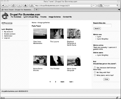 Thumbnail view of an image gallery.